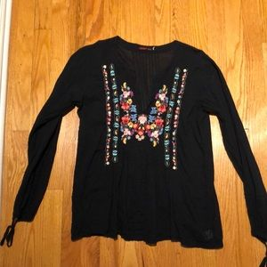 Johnny Was black blouse with flower embroidery